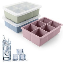 3Color Big Grid Silicone Ice Cube Mold Ice Cube Maker Flexible Silicone Ice Cube Tray with Lid Kitchen Gadgets and Accessories