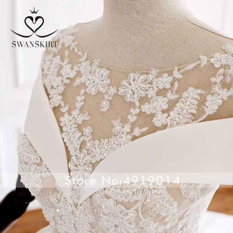 בציר אפליקציות סאטן חתונה שמלת Swanskirt A242 כבוי כתף תחרה עד בחזרה אונליין משפט רכבת כלה שמלת Vestido דה noiva