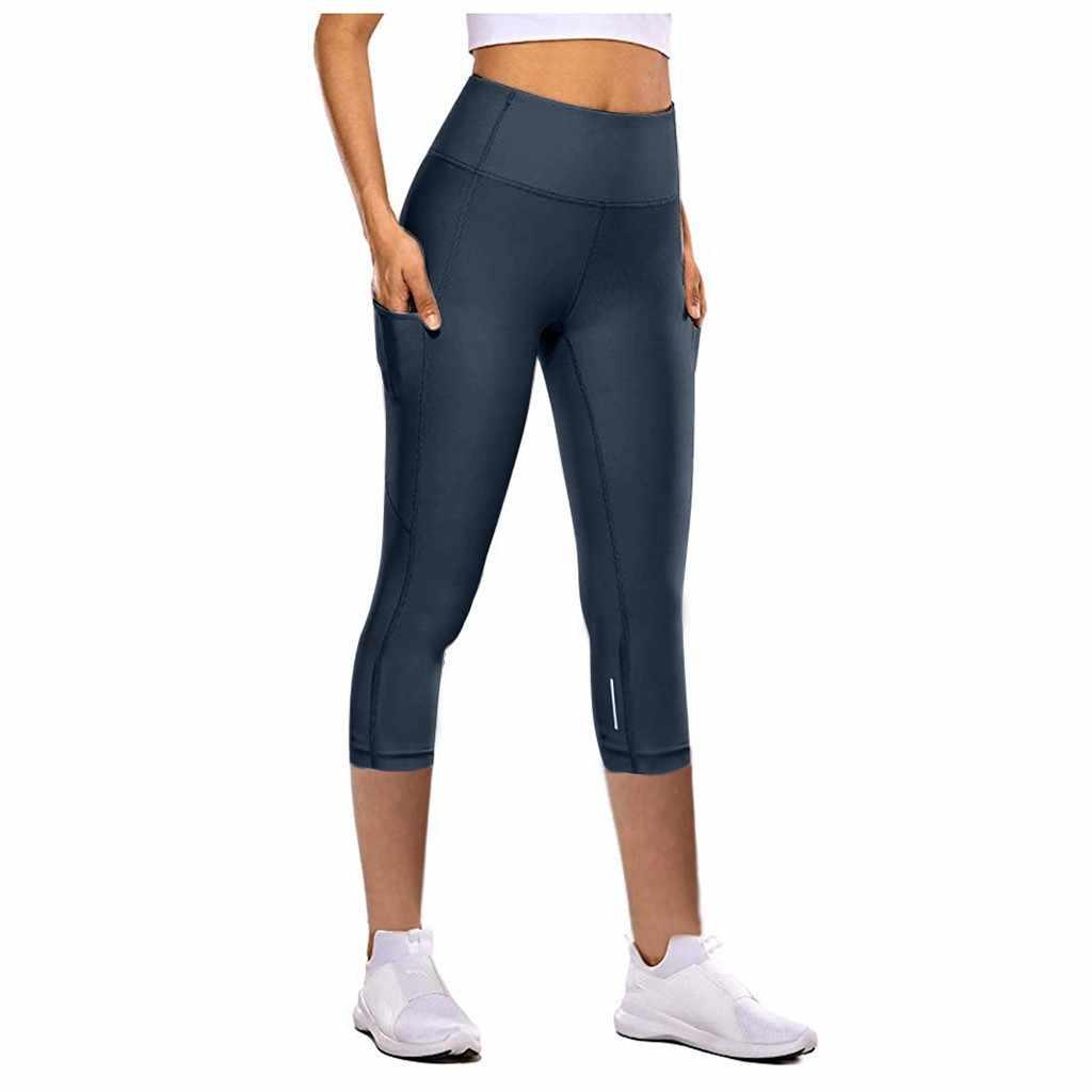 여성 레깅스 피트니스 스포츠 3/4 길이 바지 운동 바지 여름 스트레치 카프리 바지 바지 pantalon mujer leggin