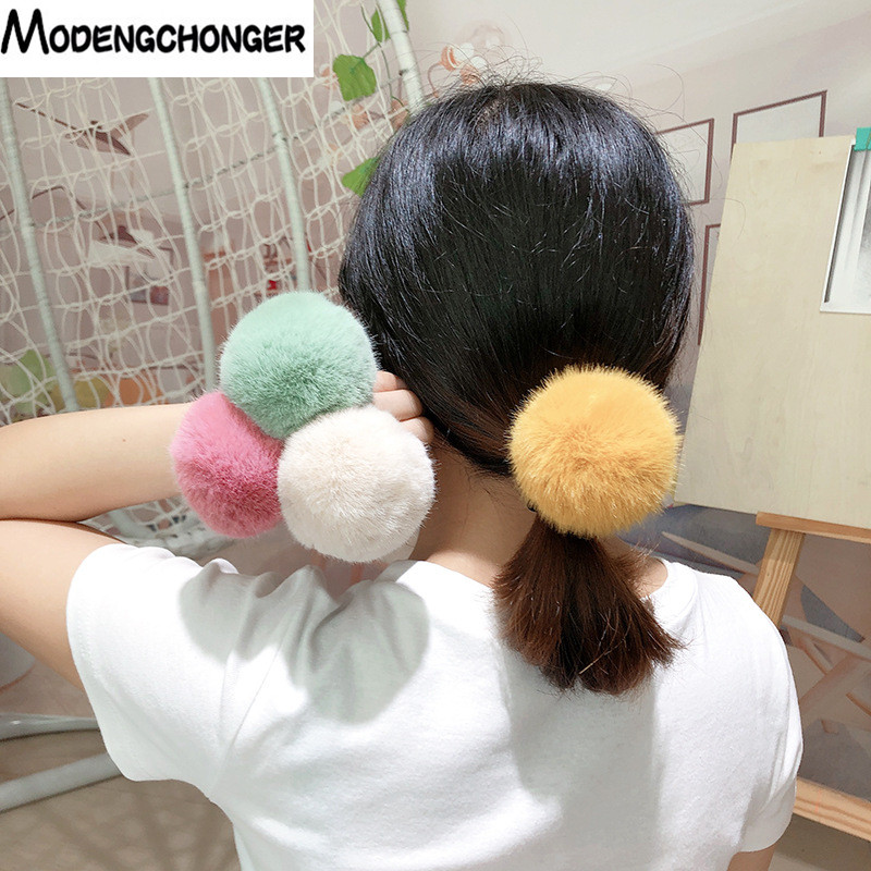 New Lovely Imitation Rabbit Fur Plush  Elastic Hair Rope Ponytail Holder Girls Pompom Hairband Hair Rings Hair Ties Accessories