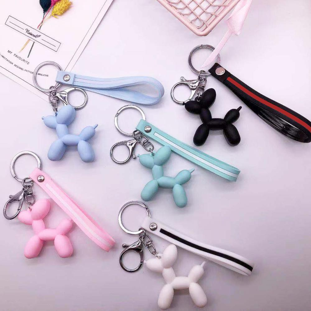 Cartoon Balloon Dog Keychain Colorful Soft Rubber PVC Lovely Dog Keychains For Women Key Chain Car Key Ring Bag Pendant Jewelry(China)