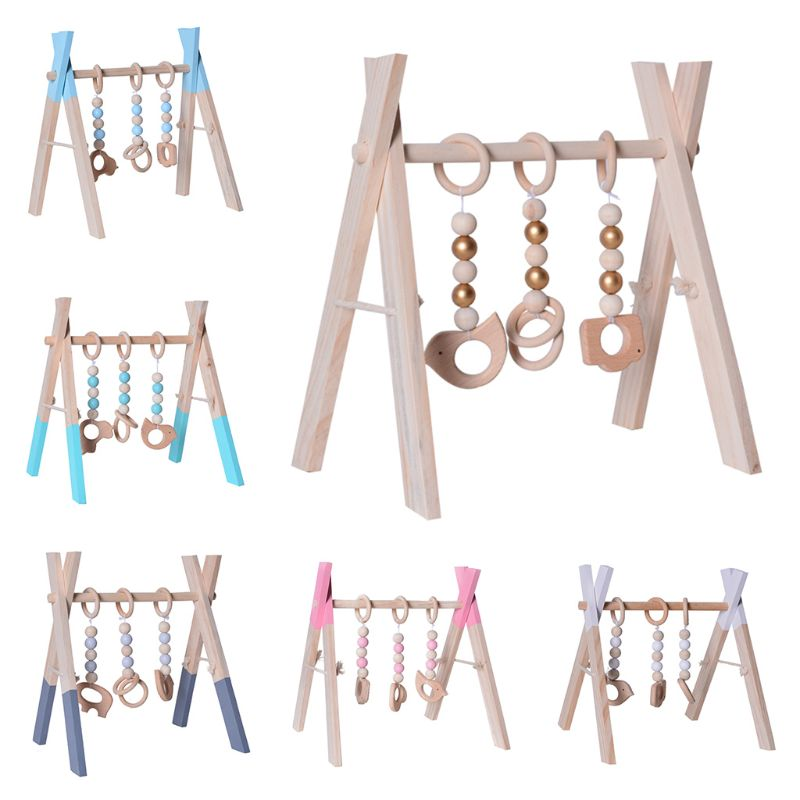 Baby Foldable Wooden Play Gym Baby Activity Gym Frame Living Baby Bedroom Decor Size Approx.30x22x35cm