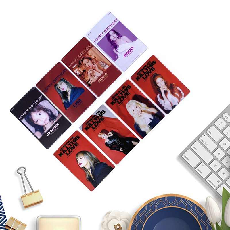 4Pcs/Set Kpop Blackpink PVC Clear Photo Card Jennie Rose Collective Cards Happy Birtay  Photocard