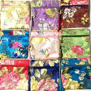 High end moeda borla pequeno com zíper decorar sacos de jóias brocado de seda moedas bolsas de embalagem de presente malotes 50 pçs/lote cor da mistura