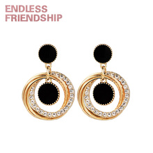 Endless Friendship Golden Diamond Round Earring Fashion Vintage Earrings For Women European Design Dropshipping Gift Friend