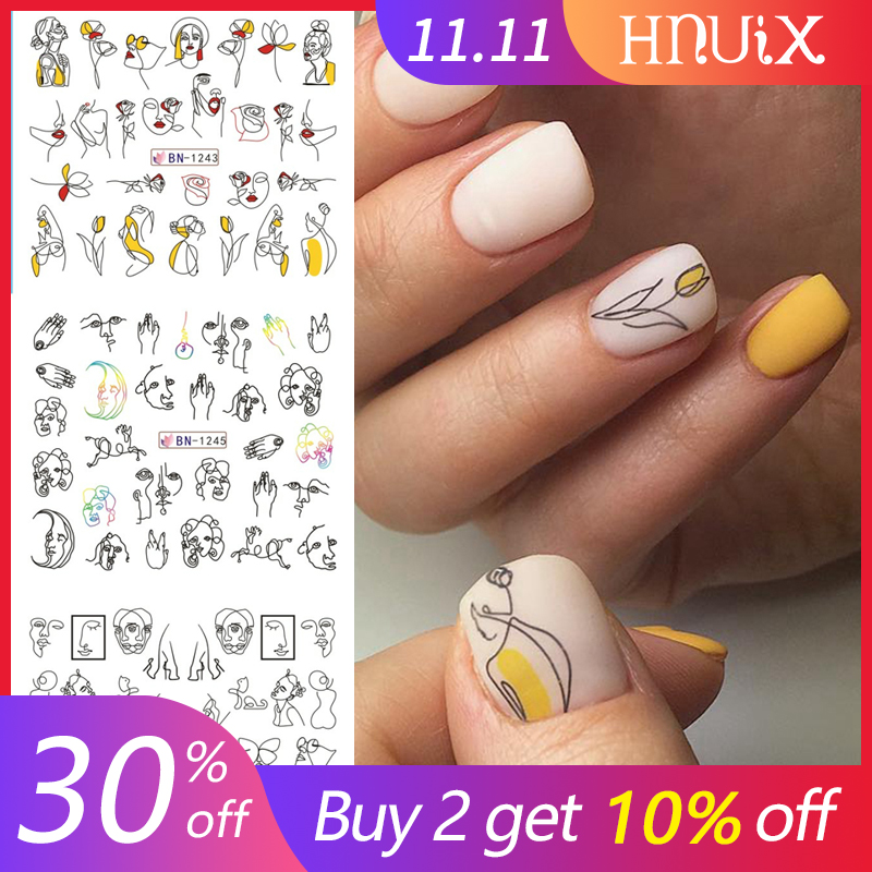 HNUIX 11/<font><b>12</b></font> Patterns / Leaf Black Line Colorful Abstract Image Stickers Nail <font><b>Girl</b></font> <font><b>Sexy</b></font> Water Transfer Slider for Nail Art image