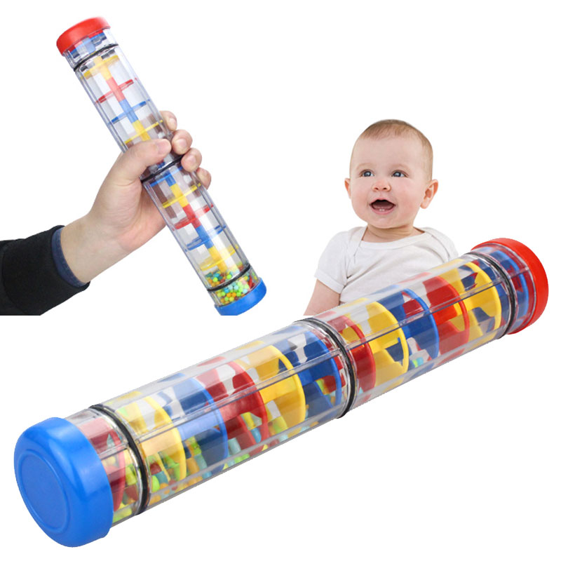 Rainmaker Toy Durable Colorful Plastic Four-Section Teaching Tools Shakers Rain Sound Tube Education Percussion Rain Stick