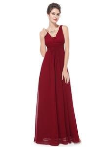 Бордовые Платья для подружки невесты Ever Pretty 2020, дешевые шифоновые трапециевидные ярко-синие длинное платье подружки невесты для свадебной ...