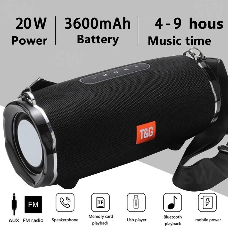 Altavoz Bluetooth TG118, reproductor de música inalámbrico con Subwoofer estéreo, cilíndrico, portátil, con batería de 3600mAh, 20W