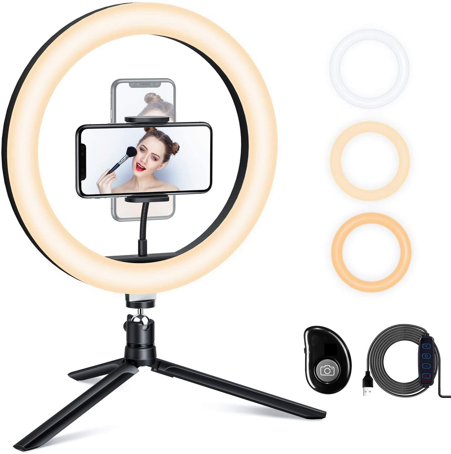 10inch Ring Light with Tripod Stand  amp  Adjustable brightness      Selfie Ring Light with Phone Holder  amp  Remote for YouTube Photography