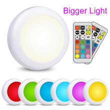 LED Cabinet Light battery RGB  Color  Puck Lights Dimmable Under Shelf Kitchen  Counter Lighting remote controller night light