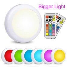 Đèn LED Tủ Đèn Pin Màu RGB Puck Đèn Âm Trần Dưới Kệ Nhà Bếp Phản Chiếu Sáng Điều Khiển Từ Xa Đèn Ngủ