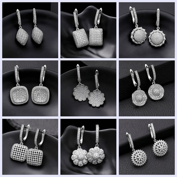 2019 New Wedding Jewelry  Zirconia Crystal Drop/Dangle Earrings for Women Fashion Long 12 Different Style