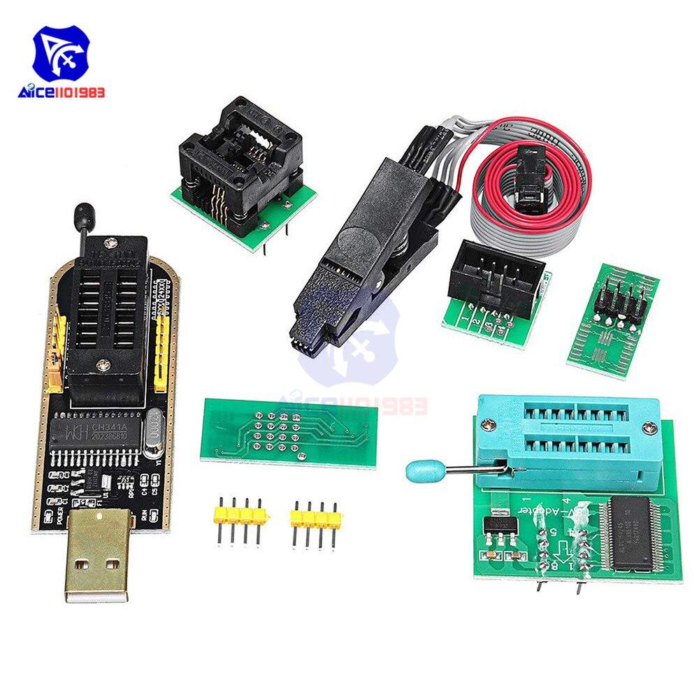 SOIC8 SOP8 pince de Test pour EEPROM 93CXX/25CXX/24CXX CH341A EEPROM Flash BIOS USB 1.8V adaptateur Soic8 adaptateur programmeur Module Kit