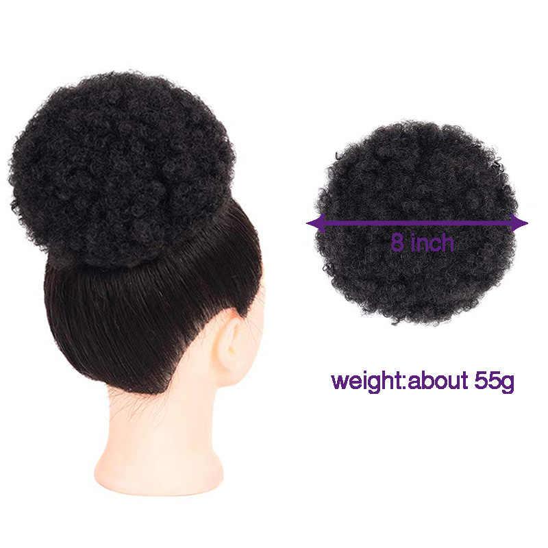 Moño africano de 8 pulgadas accesorios para el cabello rizado Afro Puff cabeza frita suave goma elástica para el pelo moños sintéticos para mujer negra
