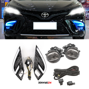 LED DRL Fog Lights for Toyota Camry 2018 2019 Headlight Yellow Turn Signal Lamp Fog Light Cover Grill Frame Headlights Foglight