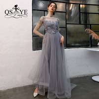 QSYYE 2019 ever pretty Long Prom Dresses tulle boat neck full sleeves Beading Floor Length Formal Evening Dress Party Gown