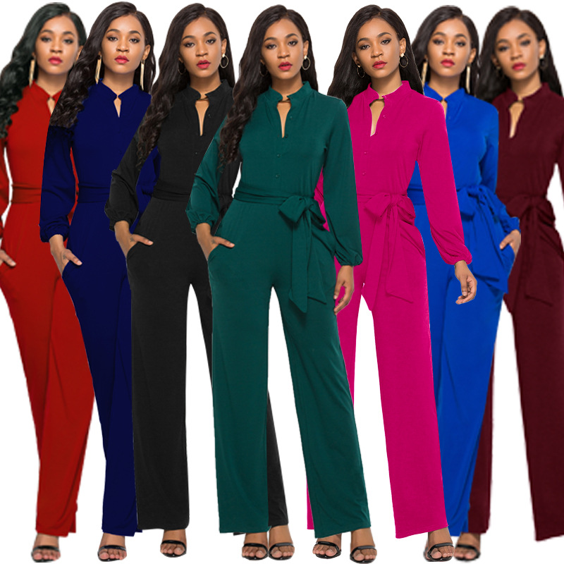 2019 Europe And America Sexy Women's Fashion Solid Color Long-sleeved Classic Commuter Wide Leg Jumpsuit