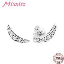 MISSITA 100% 925 Sterling Silver Romantic Elegant Moon Stud Earrings for Women Zircon Crystal Silver Color Earrings Dropshipping pair of elegant color block half moon earrings for women