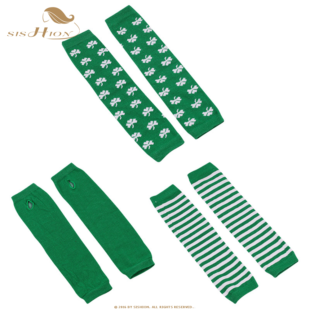SISHION Winter Christmas Arm Sleeve Arm Warmers Knitted Long Gloves Green Stripe Print Fingerless Gloves Soft Warm Mitten QY0649
