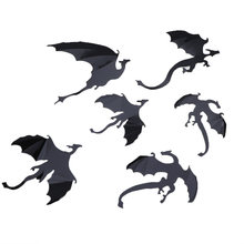 7 Pcs/lot Hot Sale Gothic Naga Stiker Dinding Game Of Thrones Terinspirasi 3D Naga Dekorasi Pegatinas De Dikupas Seni Decals dekorasi Rumah(China)