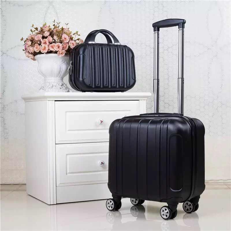 18 zoll ABS Kabine gepäck kinder Roll Gepäck set Frauen reise trolley koffer mit rädern Tragen auf mädchen koffer set