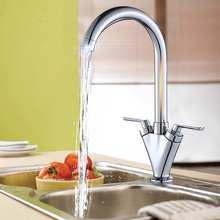 Xueqin krom mutfak banyo lavabo musluğu çift kolu musluk güverte üstü mikser sıcak ve soğuk su dokunun rotasyon bacalı