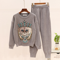 Two Piece Tracksuit Cat Women Autumn Winter Warm Heavy Work Knitted Sequined Pullover Sweater Top Pants Sets 2 Piece Outfits