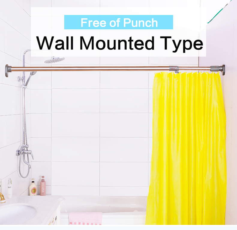 133 250cm stainless steel wall mounted extendable bathroom shower curtain rod telescopic closet clothes hanging rail bar pole