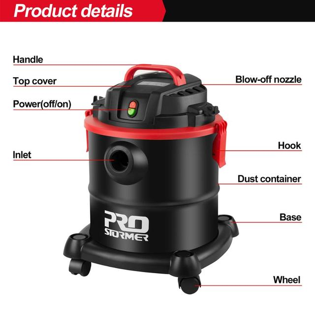 Household Vacuum Cleaner 3 in 1 Wet/Dry/Blower 16000PA Heavy-Dust Collector for Dog Hair,Garage,Car,Home&Workshop by PROSTORMER 2