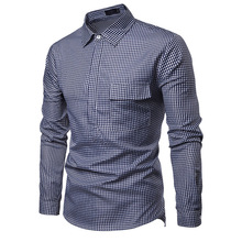 Shirts Men New Autumn Male Long Sleeve Slim Street Dress Plus Size Plaid Smart Casual Hombre Fashion MOOWNUC