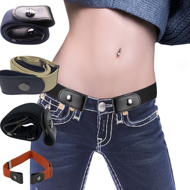 5 Colors Canvas Waist Belts Men Hot Buckle-Free Adjustable Belt Elastic Weave Slim Fit Waist Belts Leisure For Women Gifts