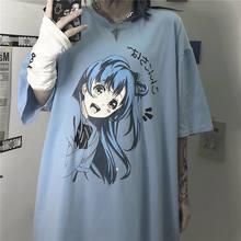 Anime kawaii dos desenhos animados azul topo de manga curta colheita topo verão casual bonito das mulheres t camisa roupas moda punk solto tamanho swift