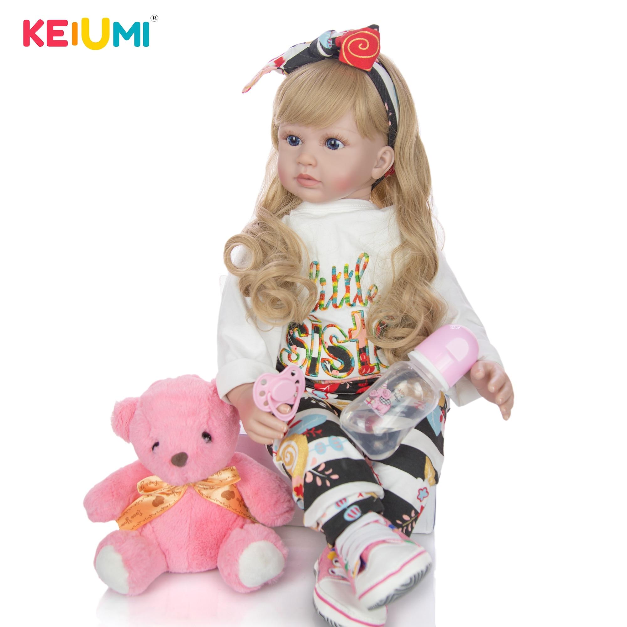 60 cm Silikon Weiche Vinyl Reborn Baby Puppe Lebensechte Prinzessin Puppe Mit Blond Haar Mädchen Brinquedos Geburtstag Geschenk Spielen Puppe spielzeug