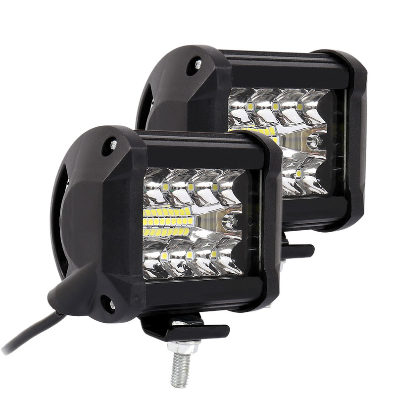 2 Pcs/pair 4 Inch LED Driving Work Lights 200W 6000K Flood Spot Combo Lights Off Road Lamp Car Truck Lighting Automobiles