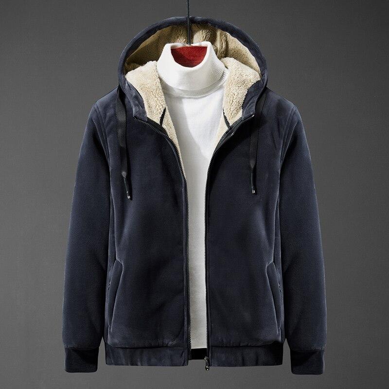 Men's hoodie  jacket coat lamb down men's sweater coat plus size Silver fox cashmere men's warm  jacket 4