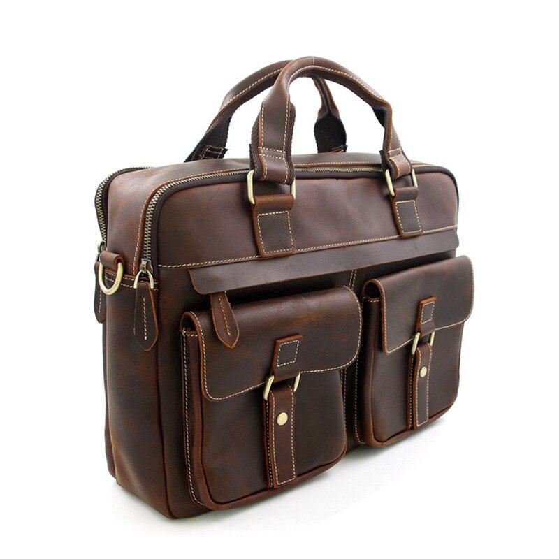 PNDME business genuine leather men's briefcase high quality cowhide simple work luxury large laptop shoulder messenger bags