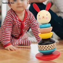 Wooden Blocks Building Toys Rabbit Tumbler Rainbow Interactive Preschool Early Childhood Education Children's Educational Toys недорого