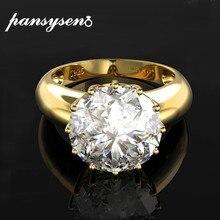 PANSYSEN 12MM yuvarlak en kaliteli taş altın rengi lüks kadın düğün nişan yüzük 925 ayar gümüş takı yüzük