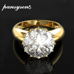 PANSYSEN 12MM Round Top Quality Gemstone Gold Color Luxury Women's Wedding Engagement Rings 925 Sterling Silver Jewelry Ring