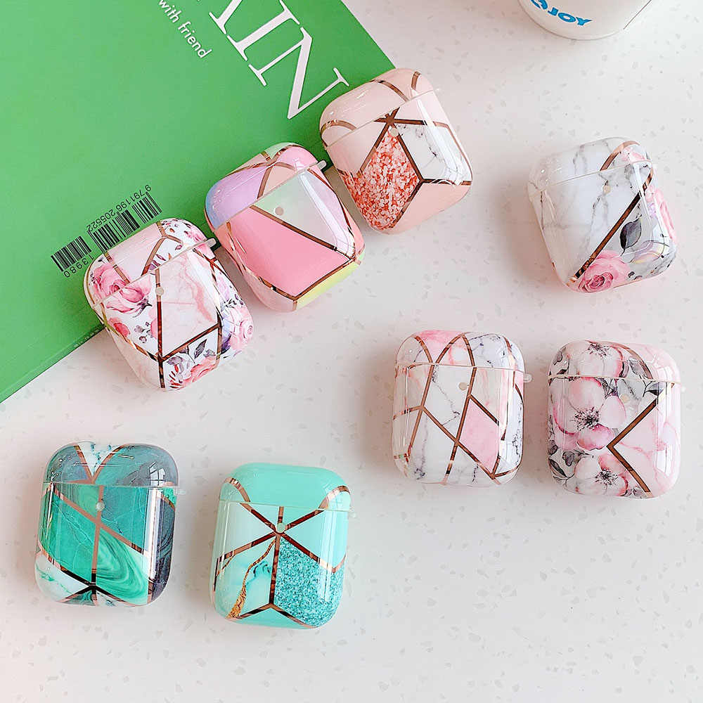 Electroplated Marble Earphone Case For Airpods Pro 2 Cases Cute
