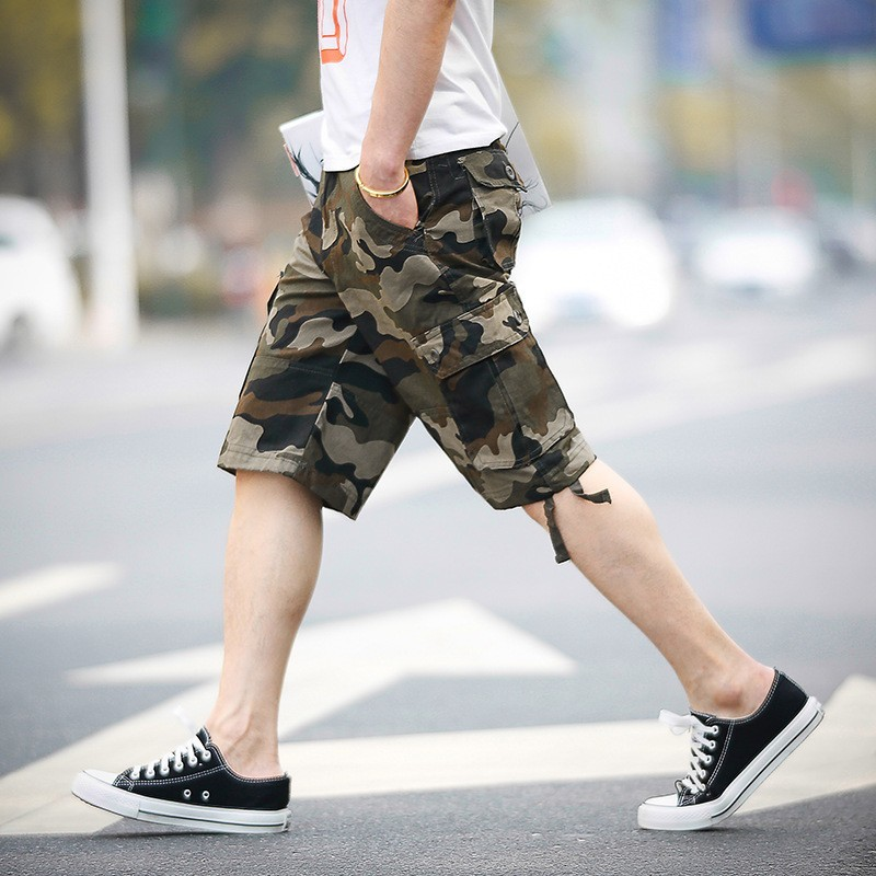 Hot Sale Summer Camouflage Print Knee Length Mens Casual Shorts Straight Loose Pockets Cotton Fashion Male Shorts Plus Size 44
