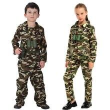 Umorden erkek kız özel kuvvetler asker kostüm çocuk çocuklar için ordu askeri kamuflaj meslek üniforma oyunu rol oynamak