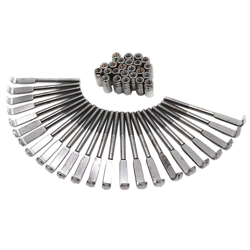 1Set Of 24Pcs Standard Banjo Bracket Hook & Nut Banjo Accessories Silver