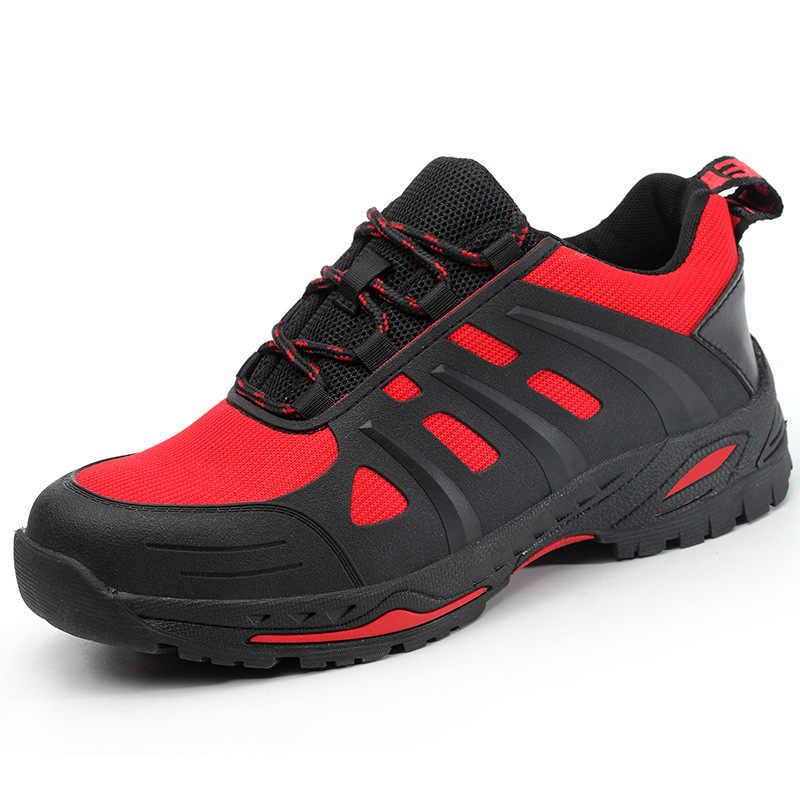 รองเท้าเพื่อความปลอดภัยชายเหล็ก Toe น้ำหนักเบา Anti-Smashing ทำงาน Unisex รองเท้าผ้าใบ Breathable สวมใส่-resisting ทั้งผู้ชายและผู้หญิง