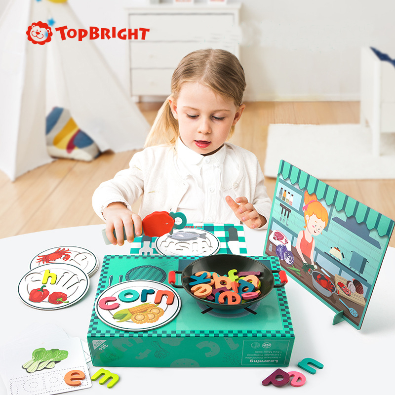 ToP BRIGHT Children Alphabet Shape Wooden Puzzle Toys Early Learning Education Intellectual Development Toys For Kids 3Y+
