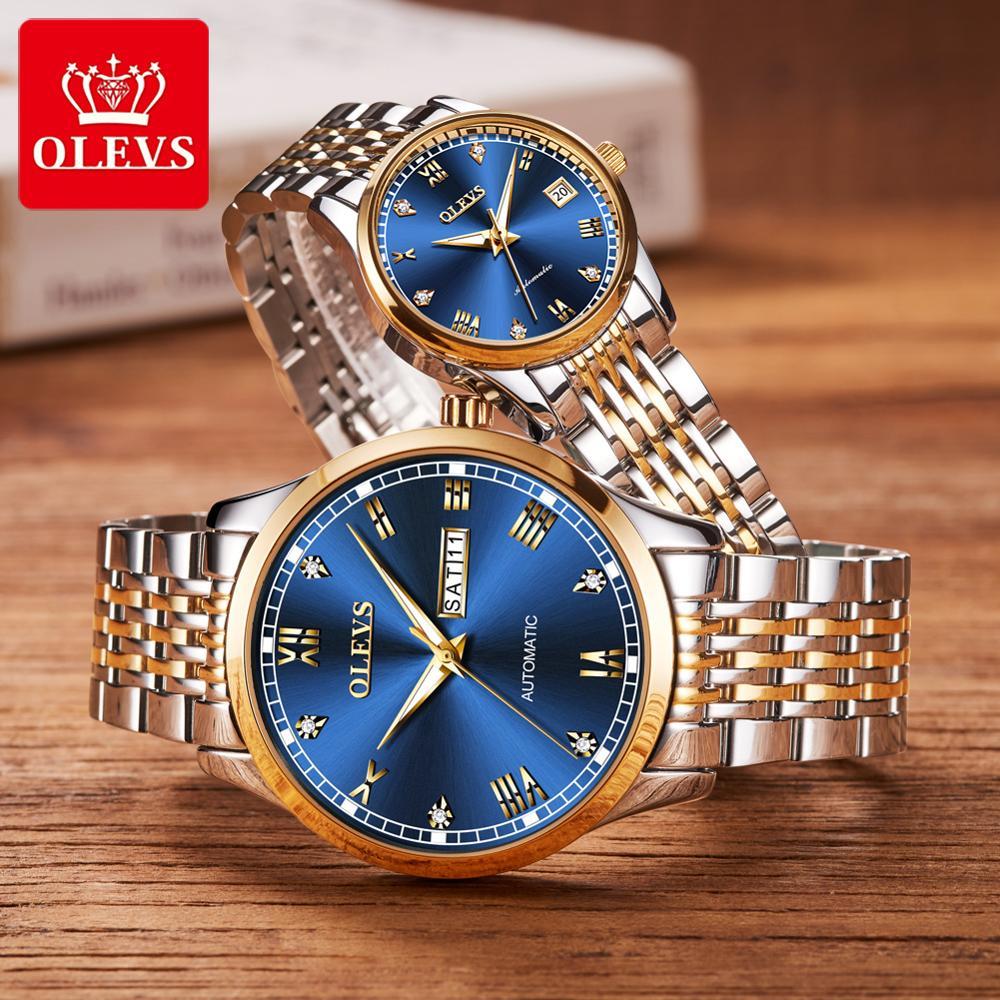 Модные механические парные часы, мужские и женские водонепроницаемые часы из нержавеющей стали для влюбленных, Reloj Mujer Hombre, люксовый бренд
