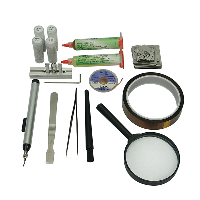 BGA stencil kit 47pcs Reballing Fixture 25K leaded solder balls Flux Paste for PS3 XBOX360 WII Game Console Chips Repair