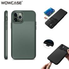 Para o iphone 11 caso slide armadura carteira slots de cartão titular capa para iphone 11 pro max negócio tpu borda à prova de choque duro escudo
