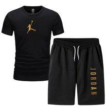 2021men conjunto de camisa de 2 peças calças esportivas masculinas terno casual basquete esportes fitness jordan 23 impresso marca shorts + terno masculino
